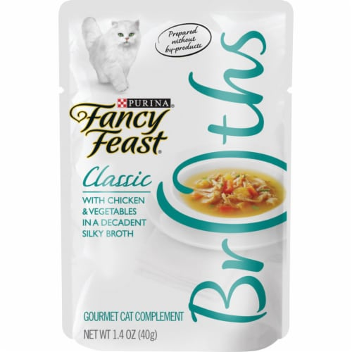 Fancy Feast Broths Classic Chicken & Vegetables Cat Food Compliment Perspective: front