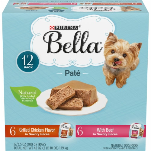 Bella Grilled Chicken & Beef in Juices Pate Small Breed Wet Dog Food Variety Pack Perspective: front