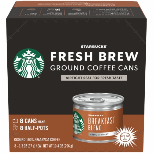 Starbucks Fresh Brew Breakfast Blend Ground Coffee Cans 8 Count Perspective: front