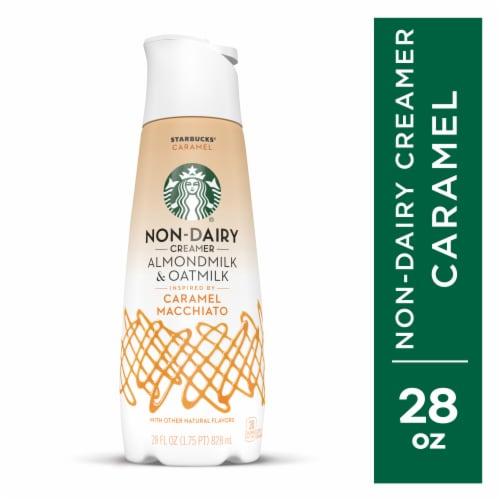 Starbucks Caramel Flavored Almondmilk & Oatmilk Non-Dairy Liquid Coffee Creamer Perspective: front