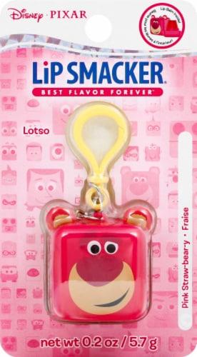 Lip Smacker Lotso Pink Straw-bear-y Lip Balm Keychain Perspective: front