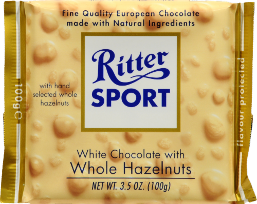 Ritter Sport White Chocolate Whole Hazelnut Candy Bar Perspective: front