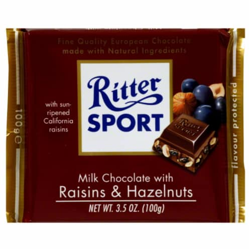 Ritter Sport Milk Chocolate with Raisins Hazelnut Bar Perspective: front