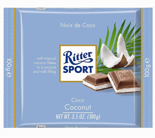 Ritter Sport Milk Chocolate with Coconut Perspective: front