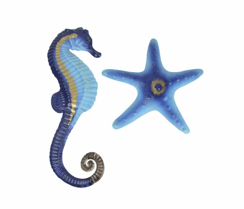 Blue Metal Seahorse Starfish Wall Hanging Sculpture Coastal Beach Home Decor Set Perspective: front