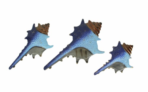 Set of 3 Blue Metal Seashell Decorations Wall Hanging Sculpture Beach Home Decor Perspective: front
