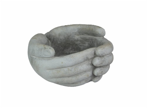 5.75 Inch Helping Hands Indoor/Outdoor Concrete Mini Plant Pot Planter / Candle Holder Perspective: front
