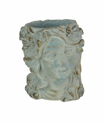 Weathered Blue-Gray Concrete Olive Wreath Roman Lady Head Planter 8 Inches High Perspective: front