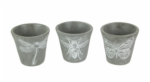 Set of 3 Cement Planters Butterfly Bee Dragonfly Decorative Flower Plant Pot Perspective: front