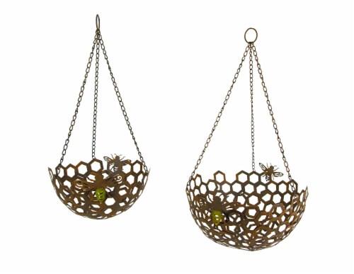 Set of 2 Hanging Honey Bee Metal Baskets Indoor Outdoor Decor Flower Fruit Holders Perspective: front