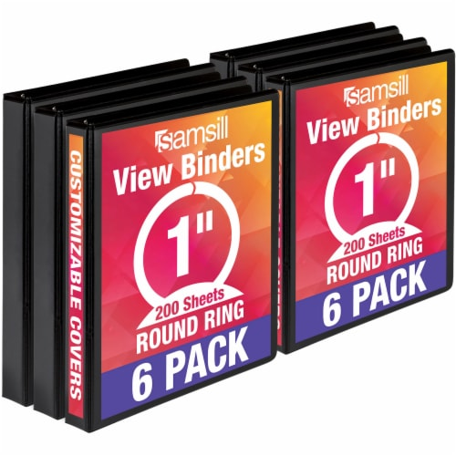 Samsill Economy Round Ring View Binders - 6 pk - Black Perspective: front