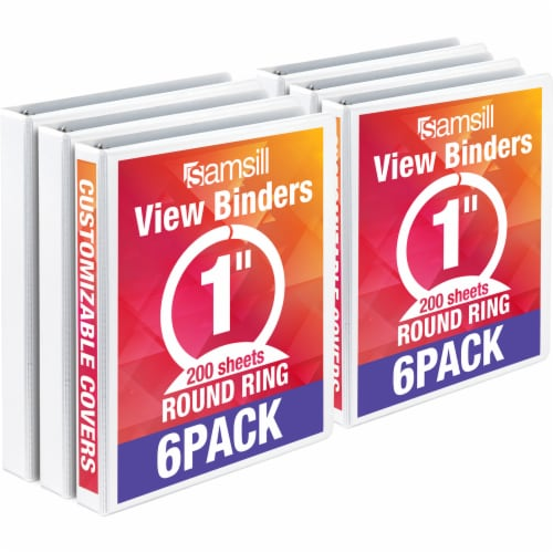 Samsill Economy Round Ring View Binders - 6 pk - White Perspective: front