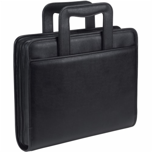 Samsill Professional Zipper Ring Binder Padfolio - Black Perspective: front