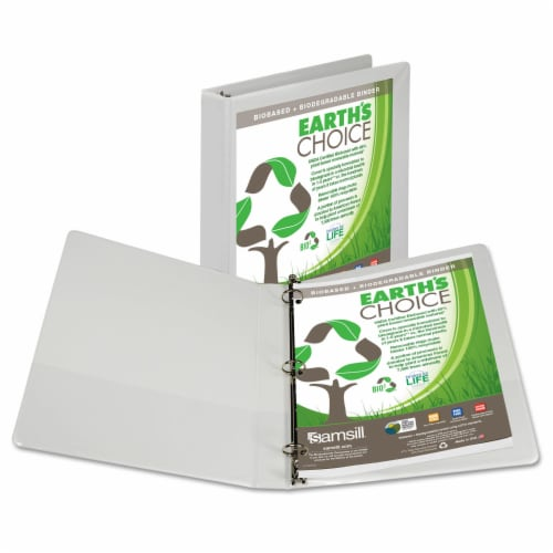 Samsill Earth's Choice Biodegradable 1 Inch White Binder Perspective: front