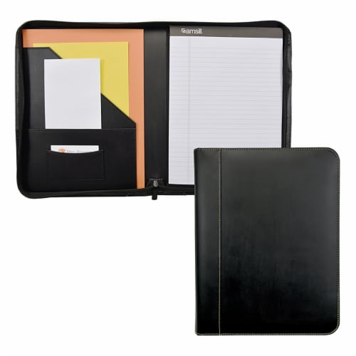 Samsill Contrast Stitch Leather Zipper Padfolio - Black Perspective: front
