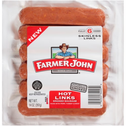 Farmer John Hot Links Smoked Sausage Perspective: front