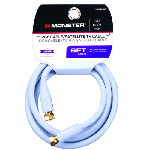 Monster Just Hook it Up 6 ft. Weatherproof Video Coaxial Cable - Case Of: 1; Perspective: front
