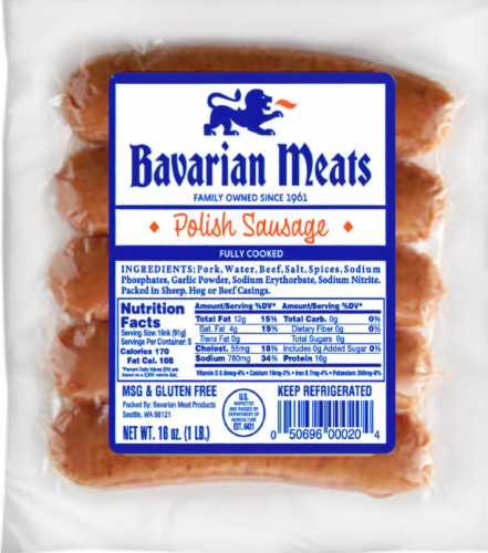 Bavarian Meats Polish Sausage Perspective: front