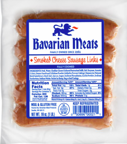 Bavarian Meats Smoked Cheese Sausage Links Perspective: front