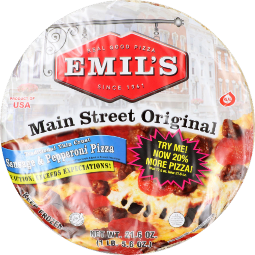 Emil's Main Street Original Sausage & Pepperoni Pizza Perspective: front
