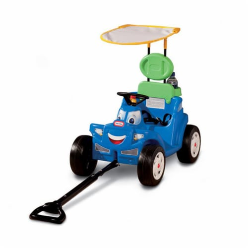 Little Tikes Deluxe 2 in 1 Cozy Roadster Toddler Kids Push Car Ride On Toy, Blue Perspective: front