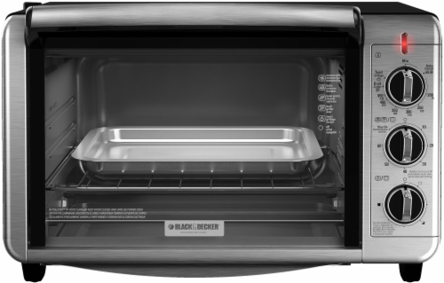 BLACK + DECKER 6-Slice Countertop Convection Toaster Oven - Silver Perspective: front