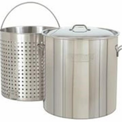 Bayou Classic 102-Qt. Stockpot with Lid and Basket Perspective: front