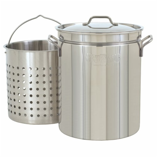 Bayou Classic Large 62 Quart Stainless Steel Soup Cooking Stock Pot with Basket Perspective: front