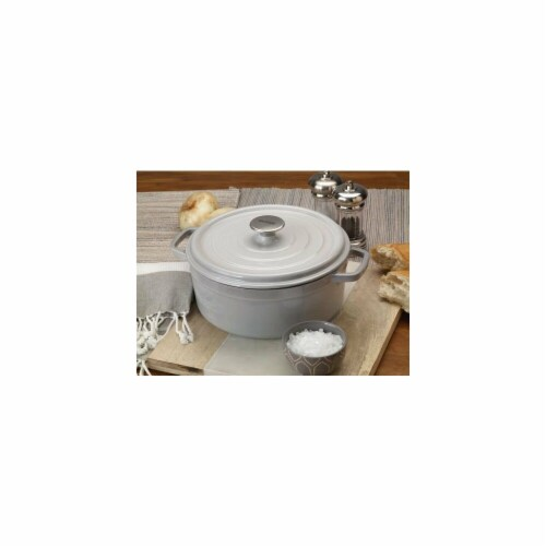 Bayou Classic 5 qt. Dutch Oven-Enameled Cast Iron, Grey Perspective: front
