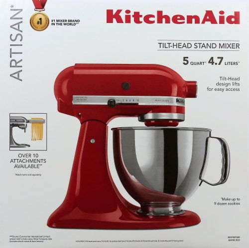 KitchenAid KSM150PSER Artisan Tilt-Head Stand Mixer - Empire Red Perspective: front