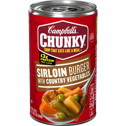 Campbell's Chunky Sirloin Burger with Country Vegetables Soup Perspective: front