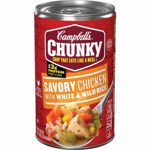 Campbell's Chunky Savory Chicken With White & Wild Rice Soup Perspective: front