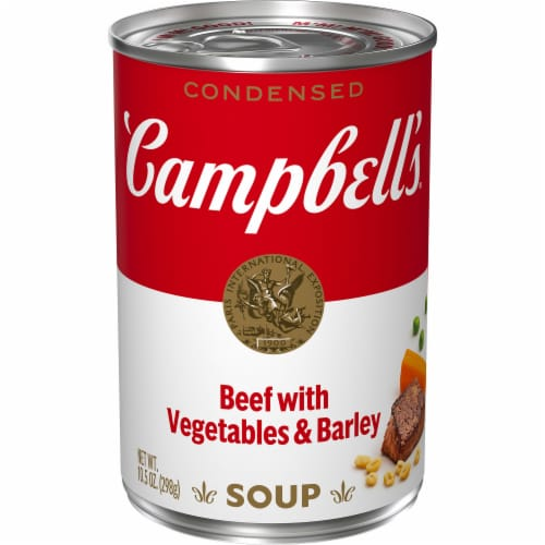 Campbell's Beef with Vegetables & Barley Condensed Soup Perspective: front