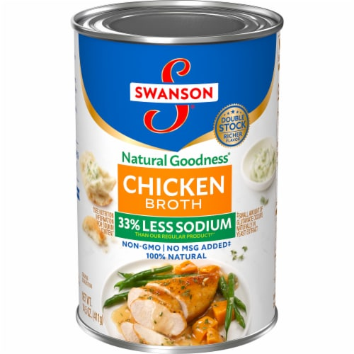 Swanson Natural Fat Free Chicken Broth Perspective: front