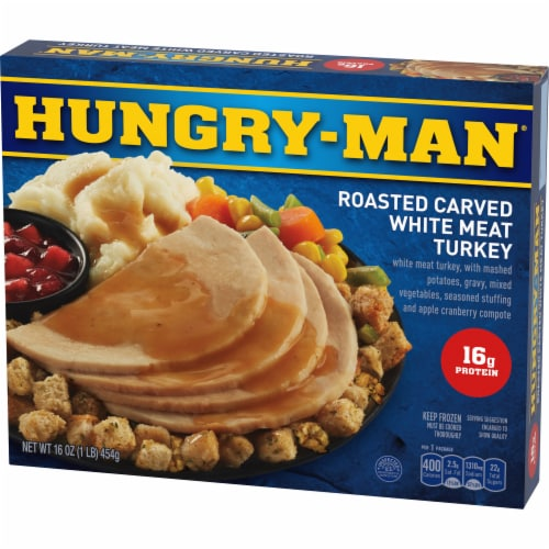 Hungry-Man Roasted Carved White Meat Turkey Frozen Meal Perspective: front