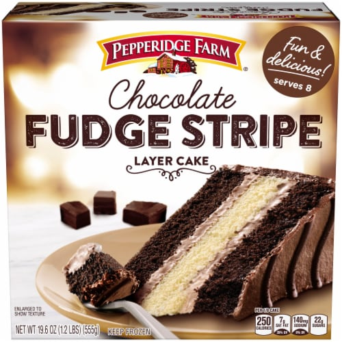 Pepperidge Farm Chocolate Fudge Stripe Layer Cake Perspective: front