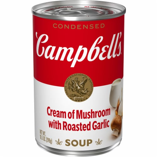 Campbell's Cream of Mushroom with Roasted Garlic Condensed Soup Perspective: front