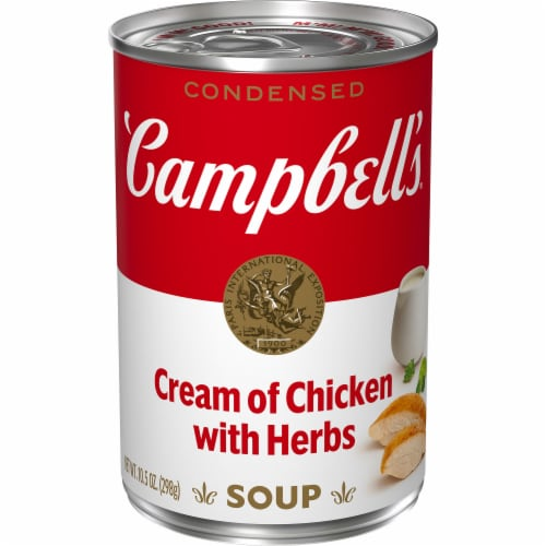 Campbell's Cream of Chicken with Herbs Condensed Soup Perspective: front