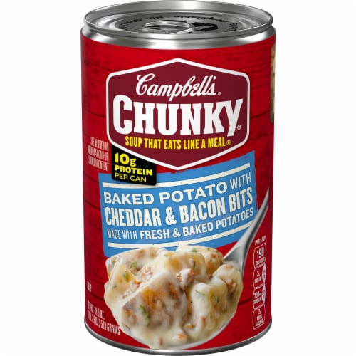 Campbell's Chunky Baked Potato with Cheddar & Bacon Bits Soup Perspective: front