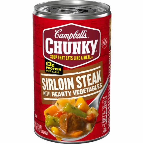 Campbell's Chunky Grilled Sirloin Steak with Hearty Vegetables Soup Perspective: front