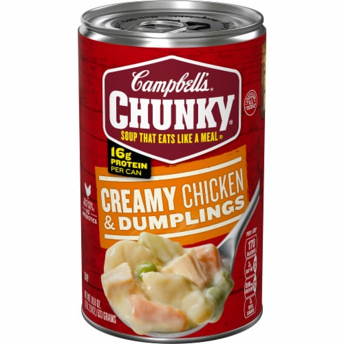 Campbell's Chunky Creamy Chicken & Dumpling Soup Perspective: front