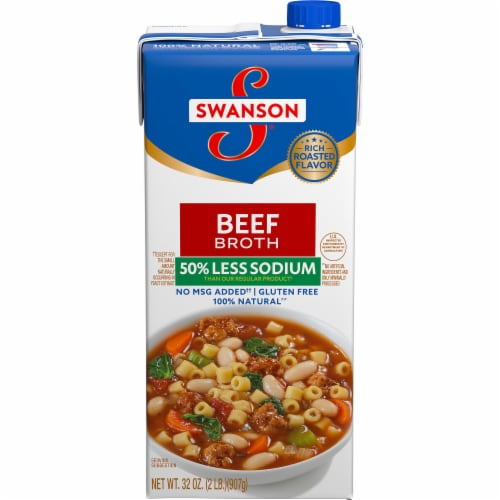 Swanson Low Sodium Beef Broth Perspective: front