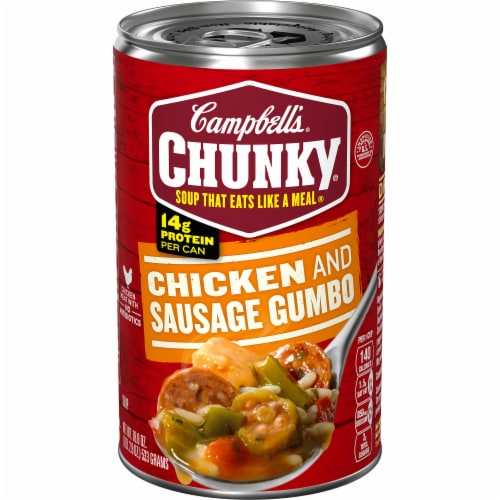 Campbell's Chunky Grilled Chicken & Sausage Gumbo Soup Perspective: front