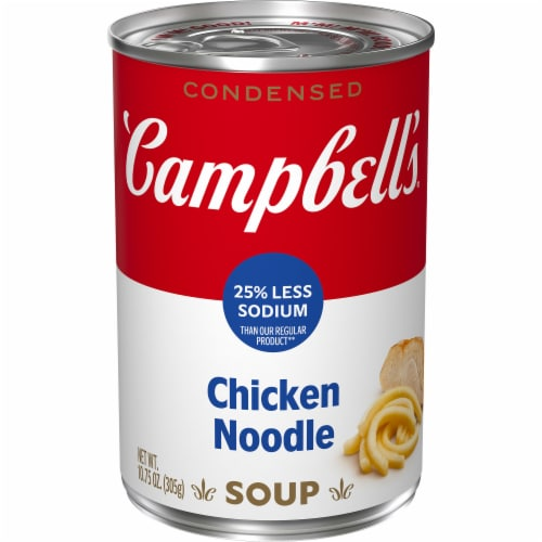 Campbell's 25% Less Sodium Chicken Noodle Condensed Soup Perspective: front