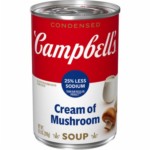 Campbell's 25% Less Sodium Cream of Mushroom Condensed Soup Perspective: front
