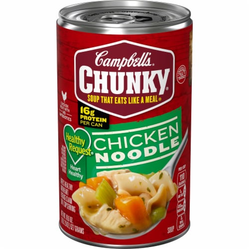 Campbell's Chunky Healthy Request Chicken Noodle Soup Perspective: front