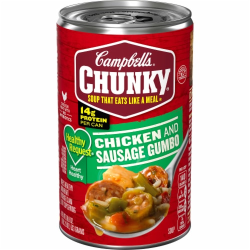 Campbell's Chunky Healthy Request Grilled Chicken & Sausage Gumbo Soup Perspective: front