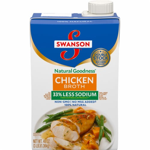 Swanson Natural Goodness Less Sodium Chicken Broth Perspective: front