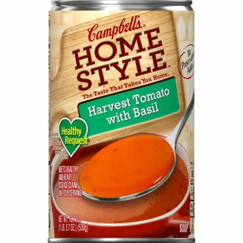 Campbell's Homestyle Healthy Request Harvest Tomato with Basil Soup Perspective: front