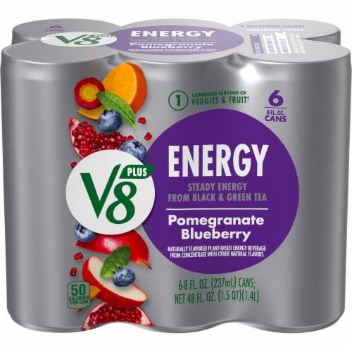 V8 +Energy Pomegranate Blueberry Juice Perspective: front